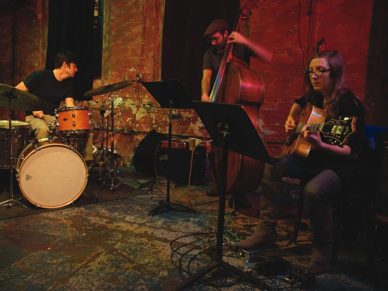 Mary Halvorson Trio (L to R): Ches Smith, John Hebert, Mary Halvorson