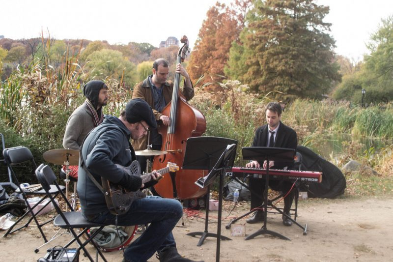 The Doug Wamble Quartet--featuring Wamble (guitar), Bill Campbell (drums), Jeff Hanley (bass) and Roy Dunlap (keys)--perform at Jazz & Colors, Central Park, NYC, 11-13