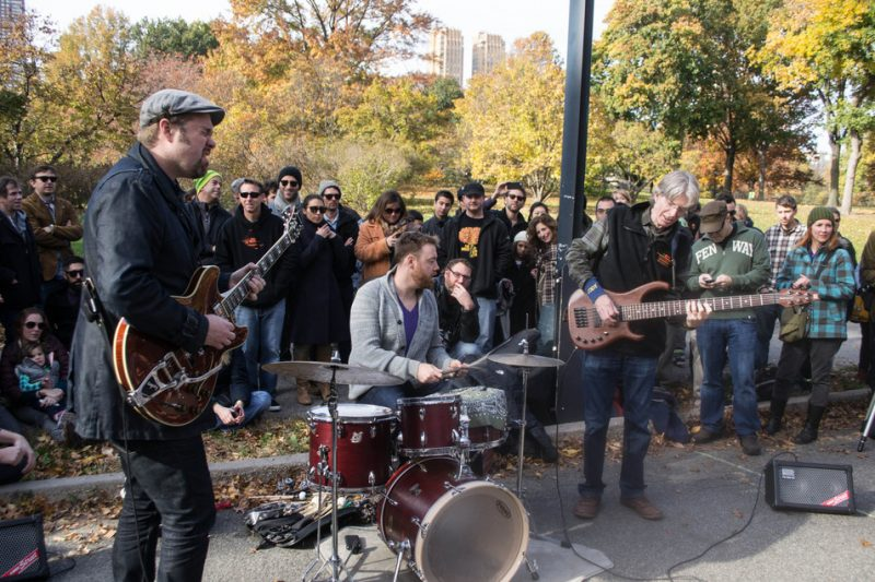 Eric Krasno (guitar), Joe Russo (drums) and ex-Grateful Dead bassist Phil Lesh perform an unannounced set at Jazz & Colors, Central Park, NYC, 11-13