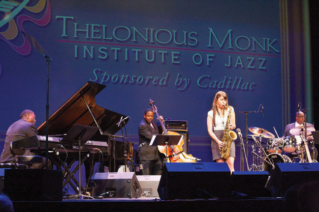 Melissa Aldana onstage at the Kennedy Center in September 2013