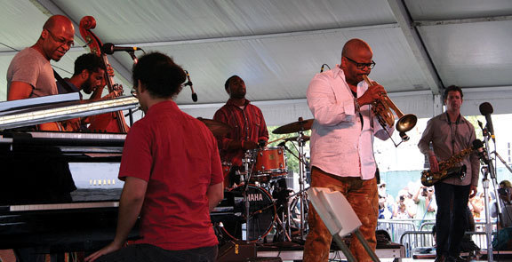 Lionel Loueke, Joshua Crumbly, Fabian Almazan, Kendrick Scott, Terence Blanchard and Brice Winston (from left) at Newport Jazz Festival, 2013