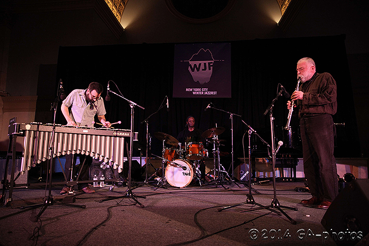 Jason Adasiewicz, Hamid Drake and Peter Brötzmann (from left) perform at Judson Church, NYC Winter Jazzfest 2014