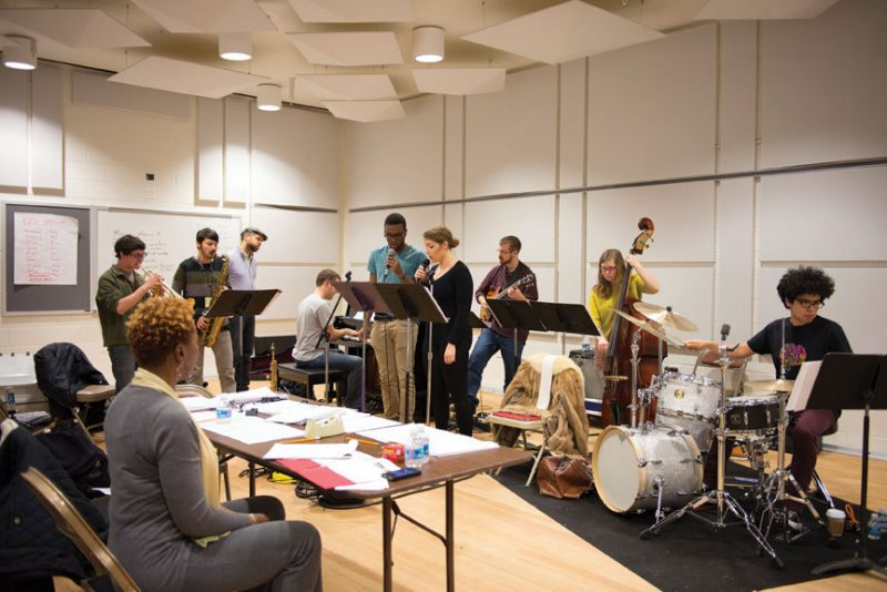 Carmen Lundy (seated at table) and Jason Moran (fourth from left) work with Jazz Ahead students at the Kennedy Center in 2013