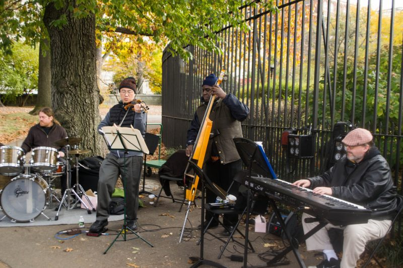 Violinist Jason Kao Hwang with drummer Andrew Drury, bassist Hilliard Greene and keyboardist Chris Forbes, Jazz & Colors, Central Park, NYC, 11-13