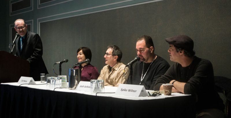 """New Models and Streams for Presenting Jazz"" panel, Jazz Connect, NYC, Jan. 2014. l. to r.: moderator Marty Ashby of Manchester Craftsmen's Guild, Cat Henry (JALC), Danny Melnick (Absolutely Live), Josh Jackson (WBGO), Spike Wilner (Smalls)"