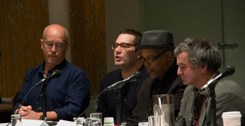 """The New Paradigm for Record Labels"" panel at Jazz Connect, NYC, Jan. 2014. l. to r.: musician Dave Douglas, Seth Rosner (Pi Records), musician Greg Osby, Oliver Weindling (Babel Records)"