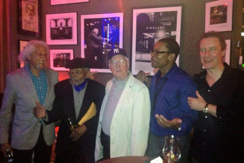 (l-r) Gary Bartz, Amiri Baraka, Lee Konitz, Ravi Coltrane, Adam Rogers