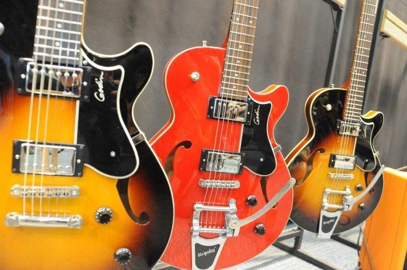 Godin's Montreal Premiere guitars on display at Winter NAMM 2014