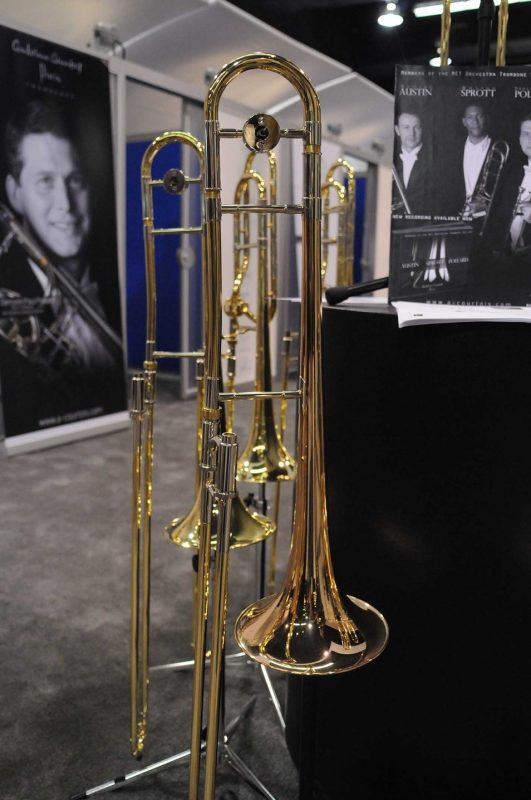 AC402TRR jazz trombones on display at Winter NAMM 2014
