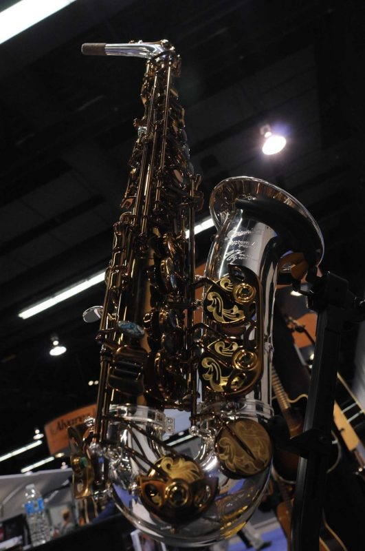 "P. Mauriat signature Greg Osby alto sax, ""The Dragon,"" on display at Winter NAMM 2014"