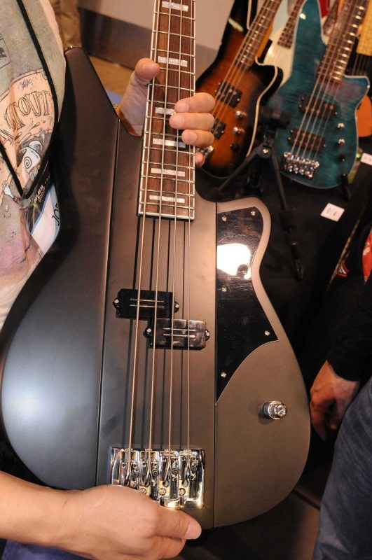 "Reverend Guitars' Meshell Ndegeocello ""Fellowship"" signature bass, on display at Winter NAMM 2014"