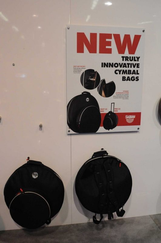 Sabian Pro 22 and Fast 22 cymbal bags on display at Winter NAMM 2014