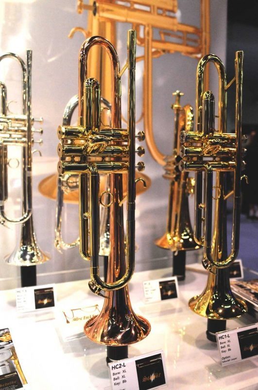 Schilke HC2-L (left) and HC1-L B-flat trumpets on display at Winter NAMM 2014