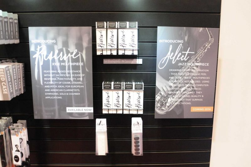 A display for D'Addario's Select Jazz mouthpieces at Winter NAMM 2014