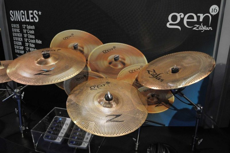 Zildjian Gen16 AE (Acoustic-Electric) cymbals on display at Winter NAMM 2014