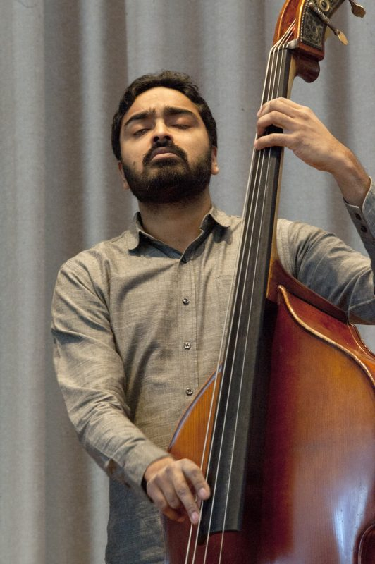 Bassist Harish Raghavan in performance at the Albright-Knox Art Gallery in Buffalo on Sunday, March 23