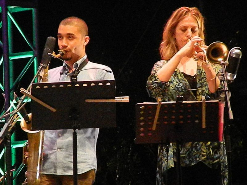 Edmar Colon and Ingrid Jensen in performance at the 2014 Puerto Rico Heineken Jazz Festival