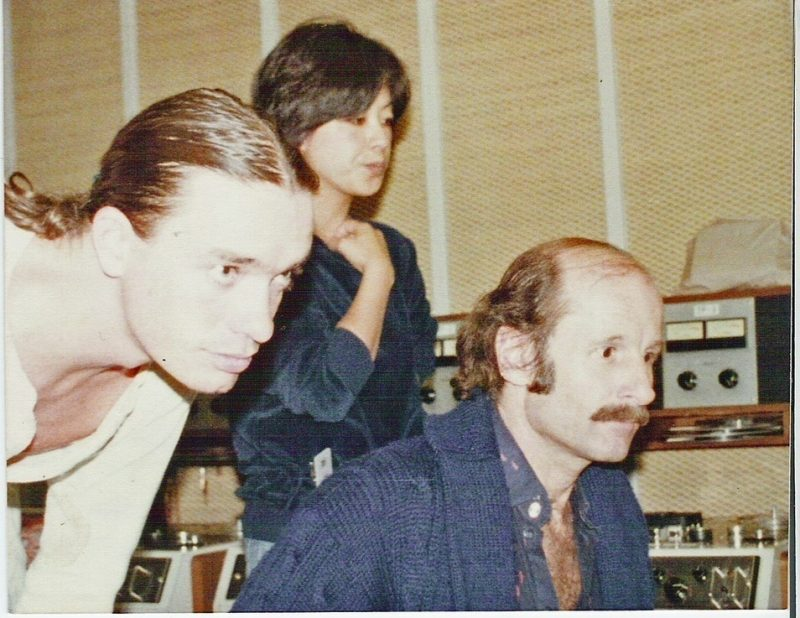 "Jaco Pastorius, interpreter Mutsuko ""Musty"" Mano, Peter  Erskine at FM Tokyo in 1978"