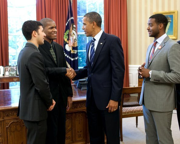 President Obama meets Monk Competition finalists (l. to r.) Emmet Cohen, Joshua White and Kris Bowers
