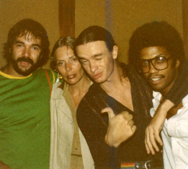 "Peter Erskine: ""Joni Mitchell's 'Mingus' session. Photo taken at the end of the 2-day recording. That album went by pretty quickly at that point. l. to r.: Peter, Joni, Jaco Pastorius, Herbie Hancock."""