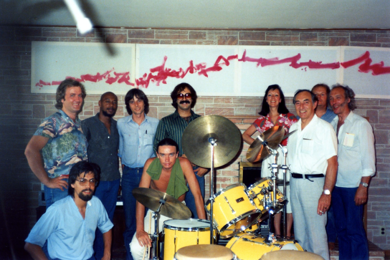"Robert Thomas Jr., Peter Erskine & Jaco Pastorius w/ British TV crew after filming of jam session at Peter's rented house in Silverlake (where Jaco was staying to complete ""Word of Mouth"" in L.A)."