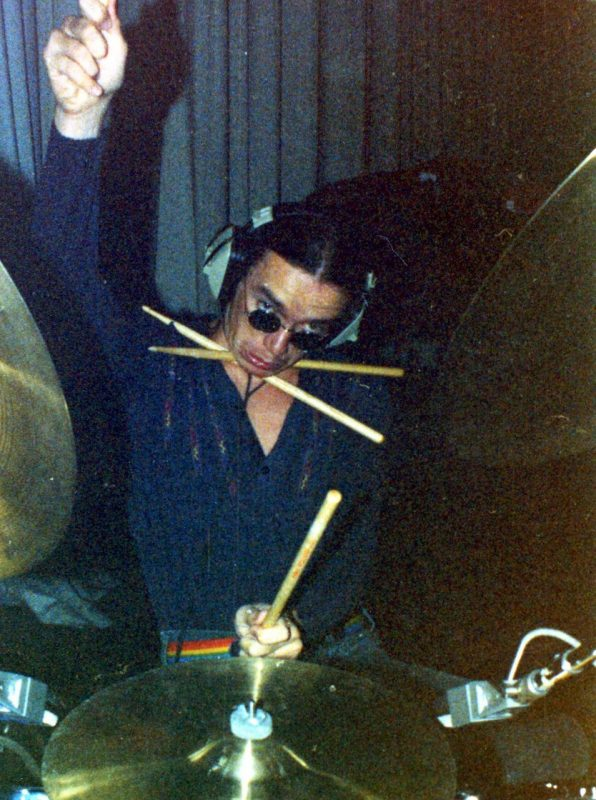 "Photo taken by Peter Erskine at A&M Studios, Hollywood in 1978 during the tracking sessions for Joni Mitchell's ""Mingus"" album … Jaco was imitating Peter imitating a photo of Steve Khan imitating a photo of Lionel Hampton from the old Zildjian Set"