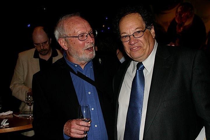 Jim Wilke and Jazz Journalists Association's Howard Mandel at JJA awards in NYC