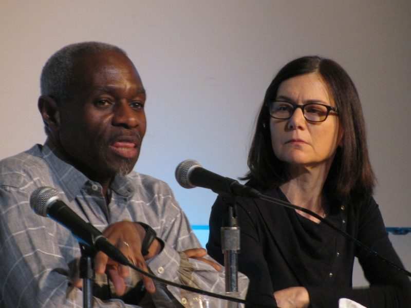 Jerome Harris, bassist and guitarist, and Jamie Baum, flutist, at Jaki Byard symposium at WPI, Worcester, Mass., 4-14