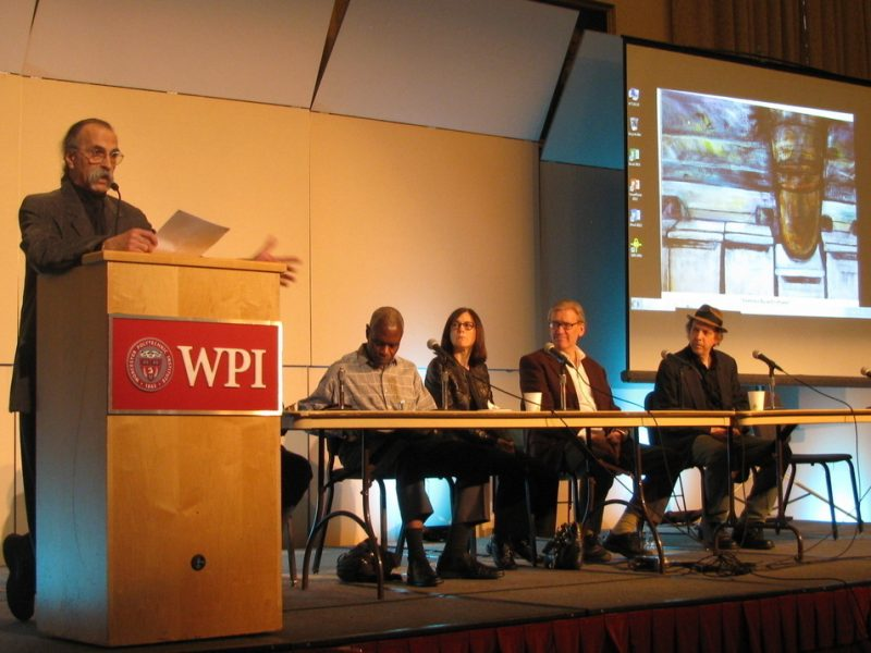 Panel at Jaki Byard symposium at WPI (L to R): Rich Falco (WPI); Jerome Harris (guitarist and former Byard student);  Jamie Baum (flutist, composer and founder of Yard Byard); Ken Schaphorst (New England Conservatory), Ed Schuller (Yard Byard)