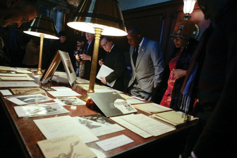 Items from the Max Roach collection on display at the Library of Congress in 2014