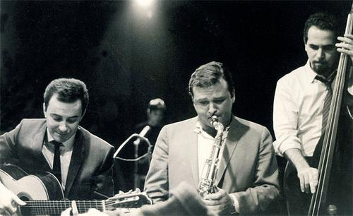Stan Getz and Joao Gilberto with unidentified bassist
