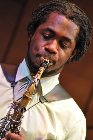 Saxophonist Nathaniel Facey in performance at St. James Theatre in London