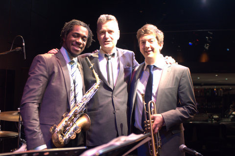 Nathaniel Facey, Alex Webb and Freddie Gavita in performance at St. James Theatre in London