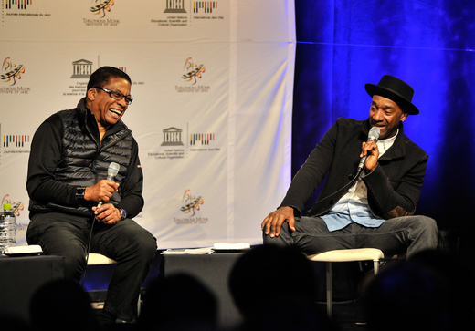 Herbie Hancock and Marcus Miller speak at the Osaka School of Music, International Jazz Day, Osaka, Japan, April 30, 2014