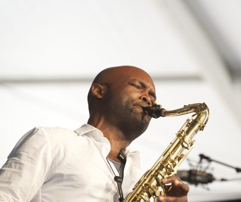 Khari Allen Lee onstage at the 2014 New Orleans Jazz & Heritage Festival