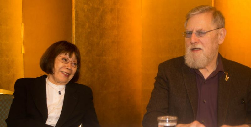 Toshiko Akiyoshi and Lew Tabackin, International Jazz Day press conference, Osaka, Japan, April 30, 2014