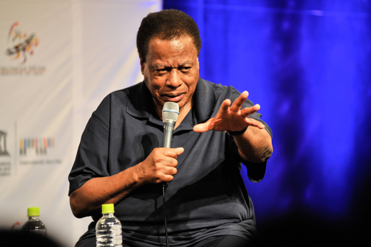 Wayne Shorter speaks at the Osaka School of Music, International Jazz Day, Osaka, Japan, April 30, 2014