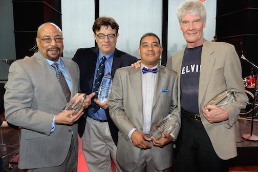 L. to R.: Myles Redding, Vince Giordano, Robert Montgomery, Gene Perla at JALC Ertegun Hall of Fame induction ceremony June 2014.JPG