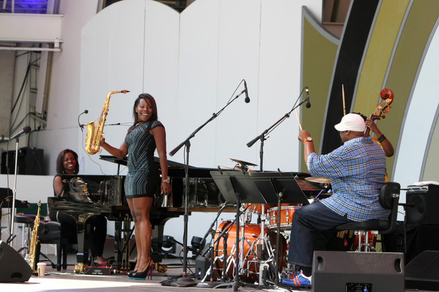 Shamie Royston, Tia Fuller and Terreon Gully, Playboy Jazz Festival 2014