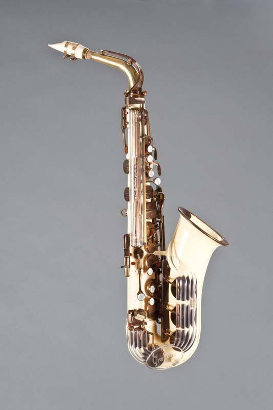 Alto saxophone created by Adolphe Sax, Paris, 1863. Photo courtesy of the Musical Instruments Museum, Brussels