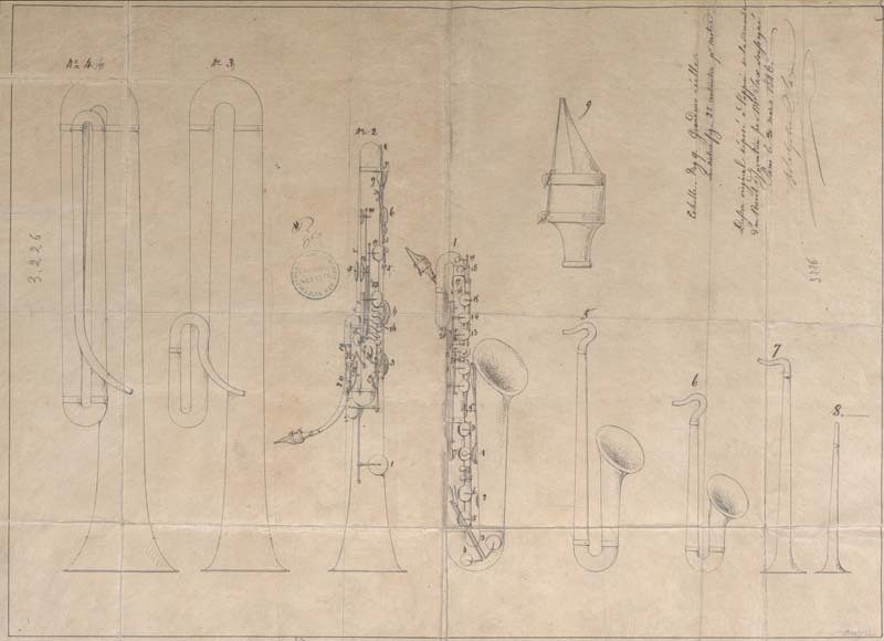 Adolphe Sax's French patent for the saxophone, 1846. Photo courtesy of the Musical Instruments Museum, Brussels