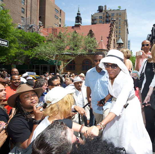 Cicely Tyson (in white) at the dedication of Miles Davis Way, NYC, May 26, 2014