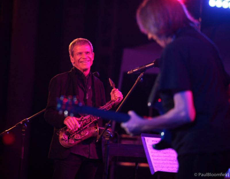 David Sanborn looks on at Nicky Moroch on guitar at the Greater Hartford Festival of Jazz 2014