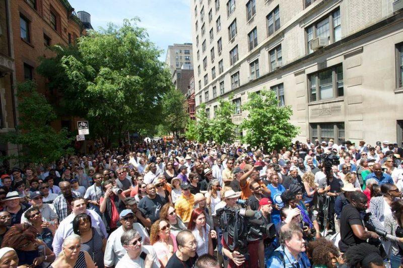 Crowd at the dedication of Miles Davis Way, NYC, May 26, 2014