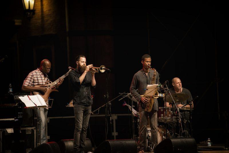 Lionel Loueke, Avishai Cohen, Mark Turner, Jeff Ballard. Piazza del Duomo, Siena Jazz Workshops, 2014