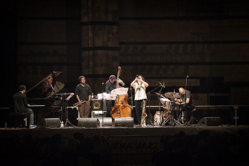 David Virelles, Ambrose Akinmusire, Matt Penman, Anat Cohen, Jeff Ballard. Piazza del Duomo, Siena Jazz Workshops, 2014