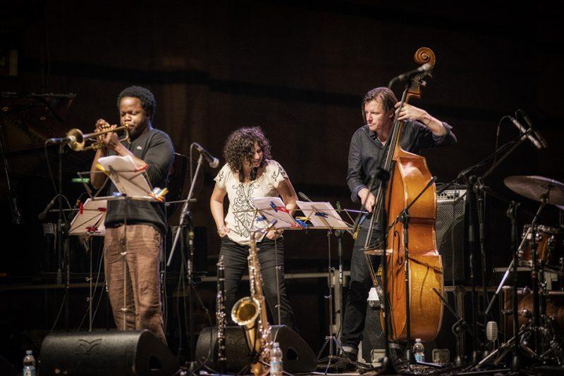 Ambrose Akinmusire, Anat Cohen, Matt Penman. Piazza del Duomo, Siena Jazz Workshops, 2014