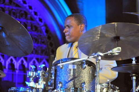 Drummer Quincy Phillips performing with Roy Hargrove and his quintet at London's Union Chapel on July 31, 2014