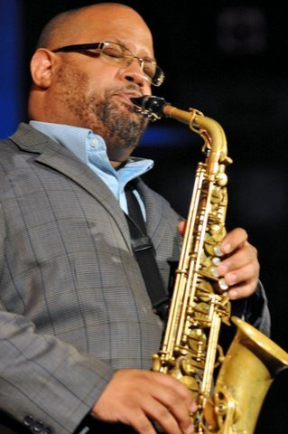 Saxophonist Justin Robinson performing with Roy Hargrove and his quintet at London's Union Chapel on July 31, 2014