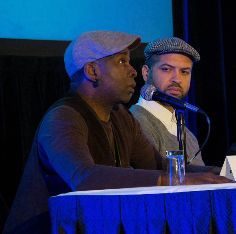 "Vernon Reid and Jason Moran on the ""Jazz in the Future Tense"" panel, at Jazz Connect, NYC, Jan. 2014"